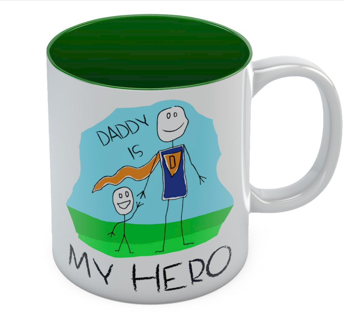 Blue Daughter or Wife Daddy is My Hero Kids Drawing Super Dad Coffee Mug from Son Unique Present for Dads Birthday Tea Cup Ceramic Mug 11 Oz