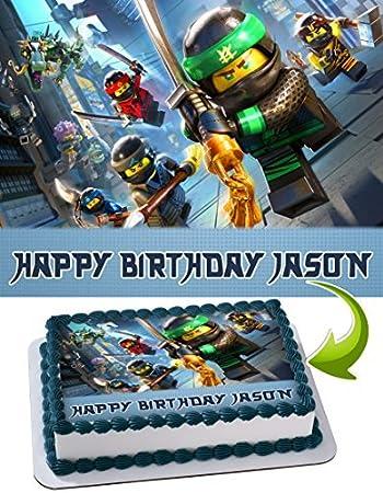 LEGO NINJAGO Edible Cake Topper Personalized Birthday 1/4 Sheet ...