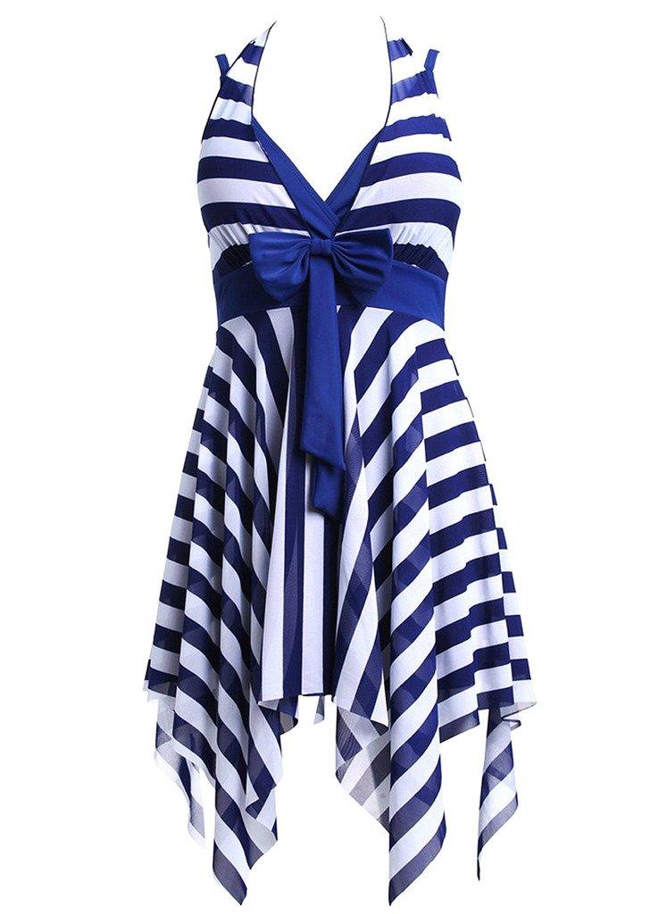 OUO Women's Plus Size Swimwear Halter One Piece Swimsuit Swim Dress 2016