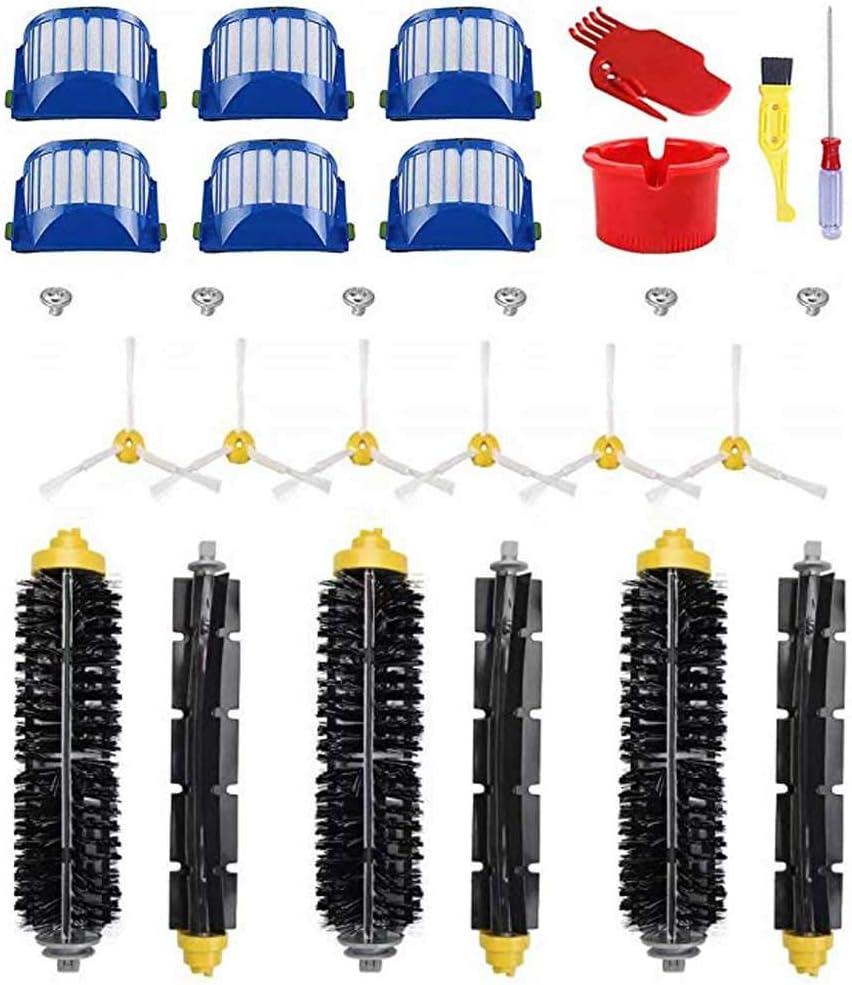 Yonice FixCracked 3 spazzole con setole Flessibili 4 Viti e 2 Strumenti di Pulizia Include 6 filtri Kit di Ricambio per aspirapolvere iRobot Roomba Serie 600 6 spazzole Laterali