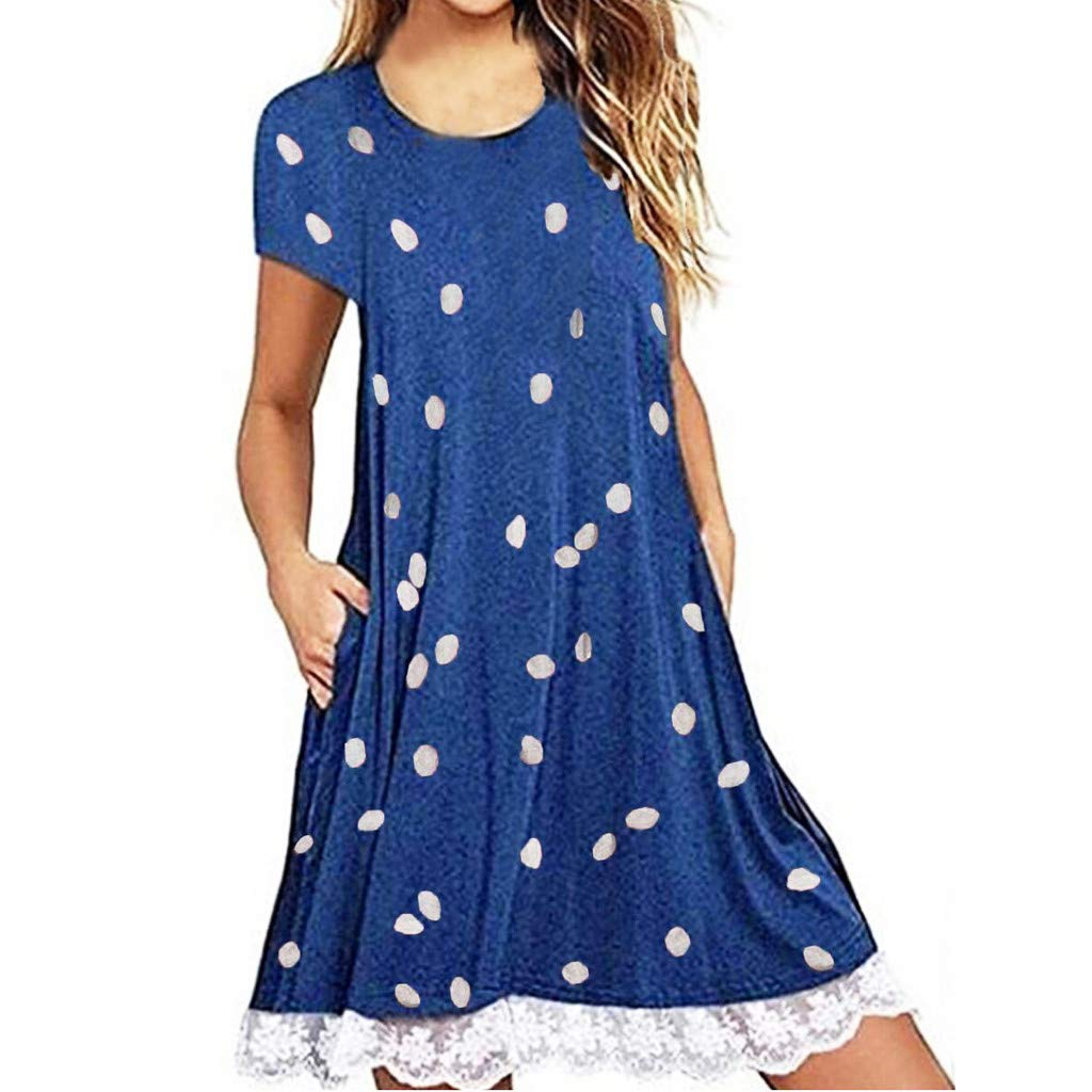 ZOMUSAR Women Fashion Casual Dot Printed Lace Patchwork Boho Pockets Mini Dress for Ladies Blue