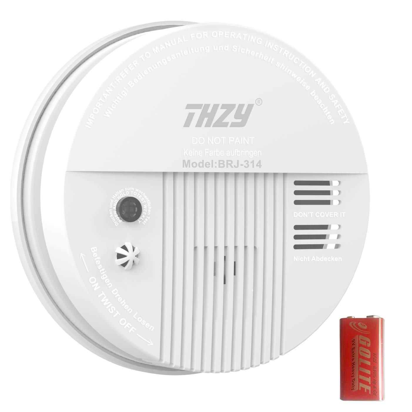 Smoke Carbon Monoxide Alarm THZY Battery Operated Carbon Monoxide CO Detector with Sound Warning and LED Light Indicator 9V Battery Back up White
