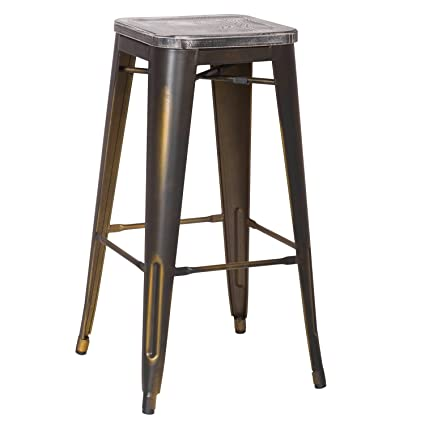 Groovy Joveco 30 Inches Counter Distressed Vintage Retro Counter Stool Arty Metal Bar Stool With Wooden Seat Set Of 2 Antique Bronze Creativecarmelina Interior Chair Design Creativecarmelinacom