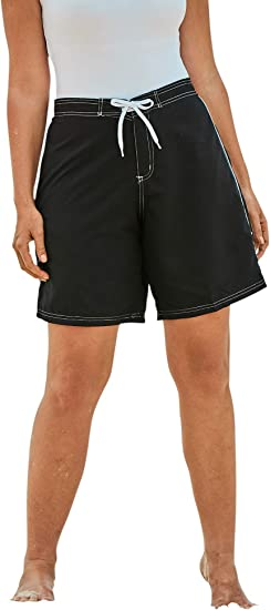 Swimsuits For All Womens Plus Size Cargo Swim Shorts with Side Slits