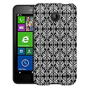 Nokia Lumia 635 Case, Slim Fit Snap On Cover by Trek Victorian Damasks White on Black Case