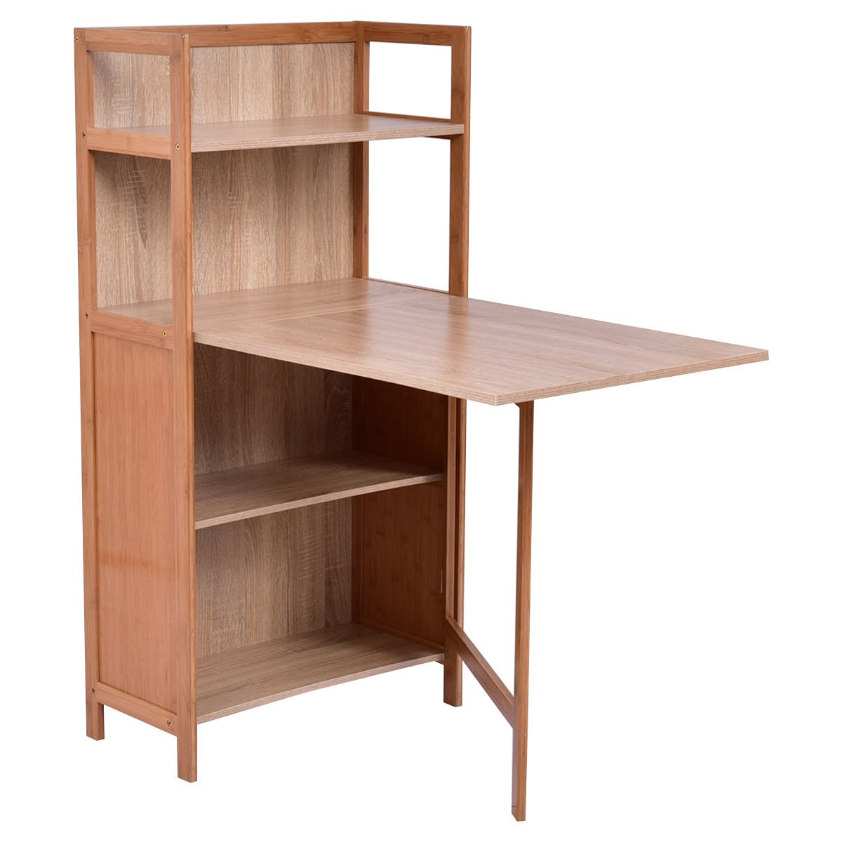 2 in 1 Folding Computer Desk Convertible with Fold Out Cabinet Book Shelf Workstation Wood