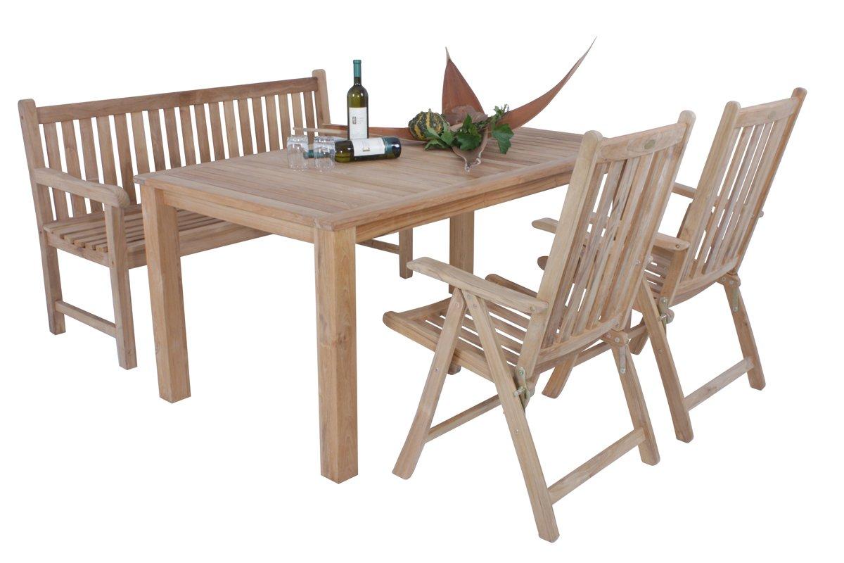 4 teilige tischgruppe s1 aus unbehandeltem teak sitzgruppe. Black Bedroom Furniture Sets. Home Design Ideas