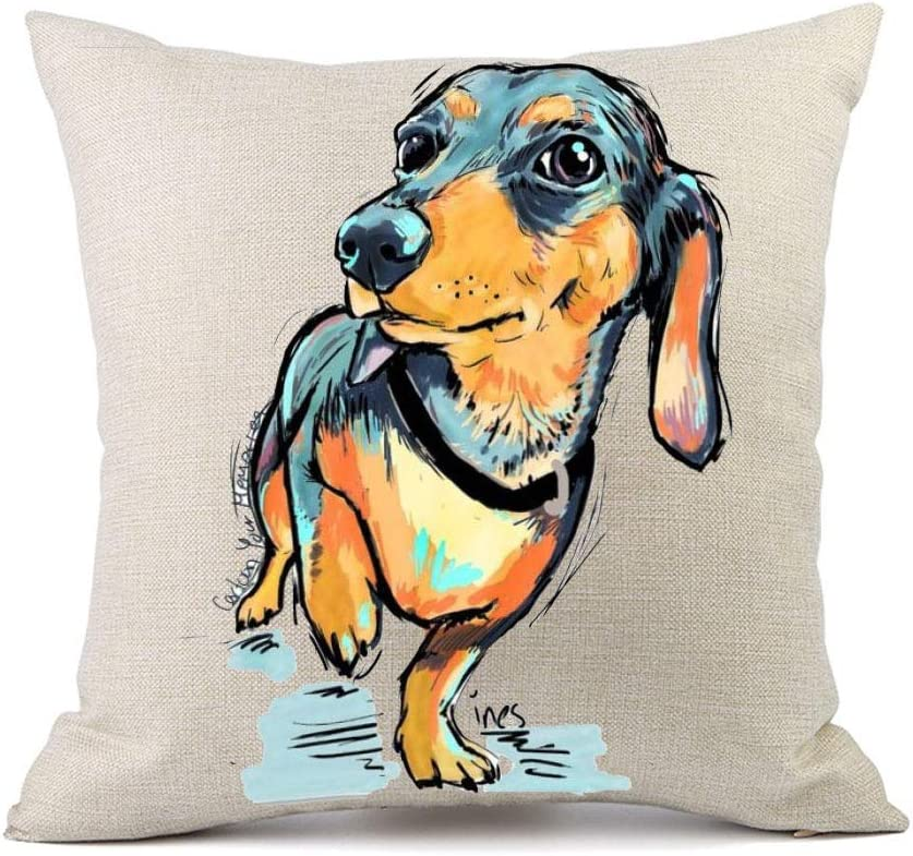 Vioaplem Cute Pet Dachshund Dogs Pattern Cushion Cover Cotton Linen Sofa Decorative Throw Pillow Case for Home Decor 18x18 Inch