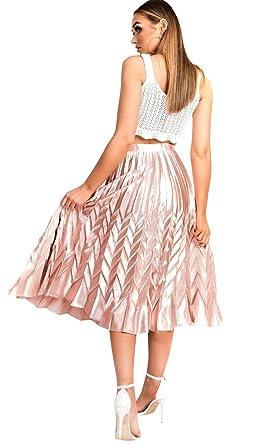 918a701f8a74 Ikrush Womens Gabbana Metallic Pleated Midi Skirt Rose: Amazon.co.uk:  Clothing