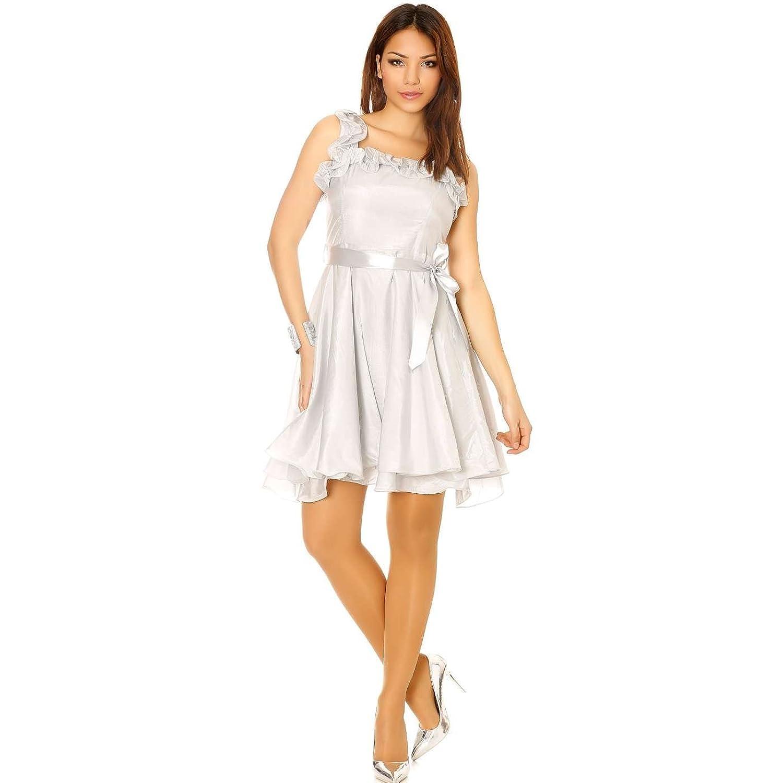 Miss Wear Skirt Shiny Line?-?Grey Dress With Froufrou