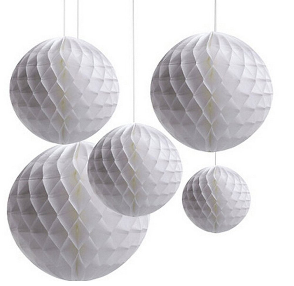 Mixed 2 Sizes 5-Pack White Paper Honeycomb Ball Christening Baby Shower Birthday Wedding Christmas Party Hanging Decoration DreammadeStudio