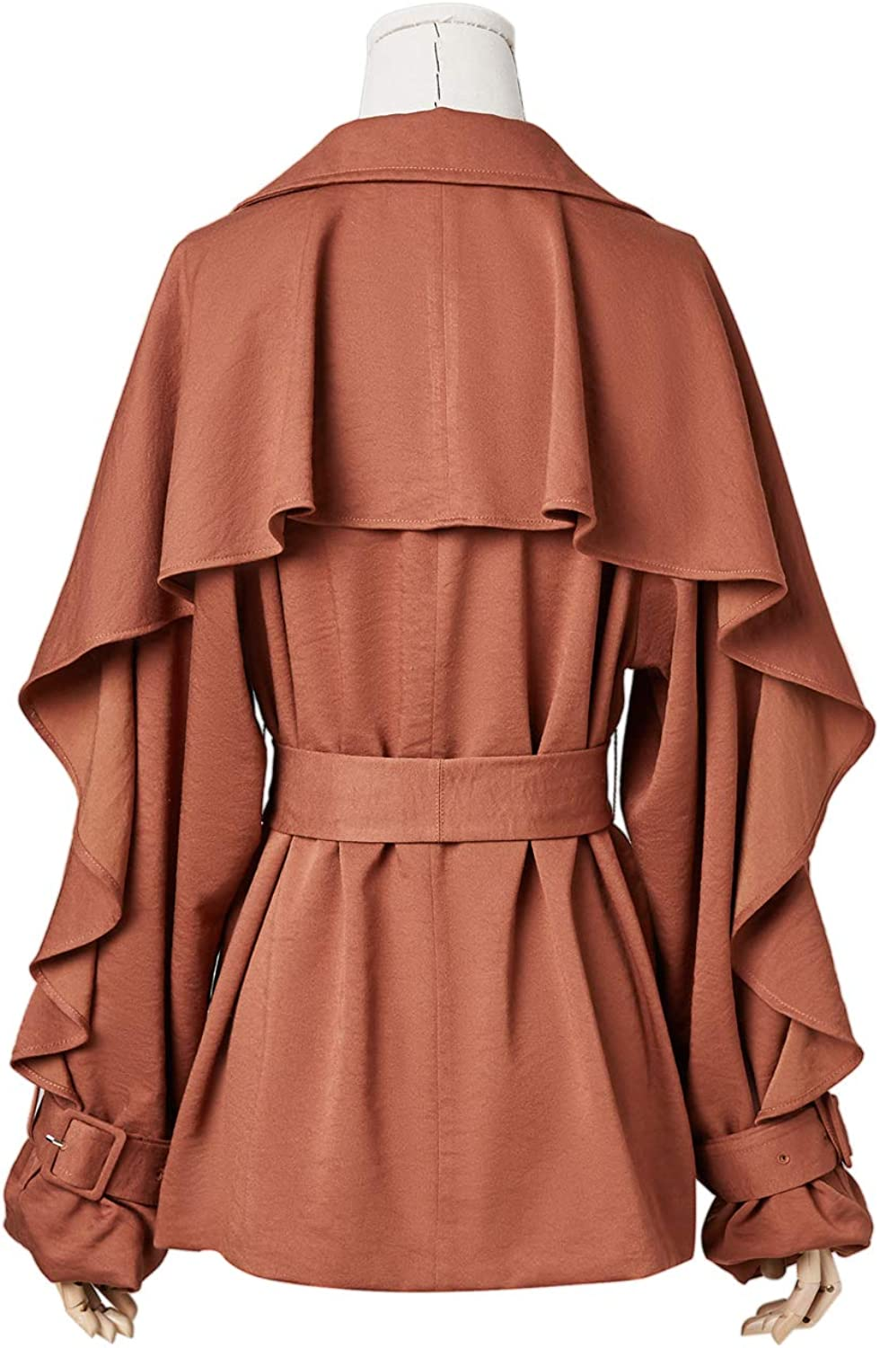 Artka Womens Vintage Lapel Single Breasted Cropped Trench Coat with Belt Coffee