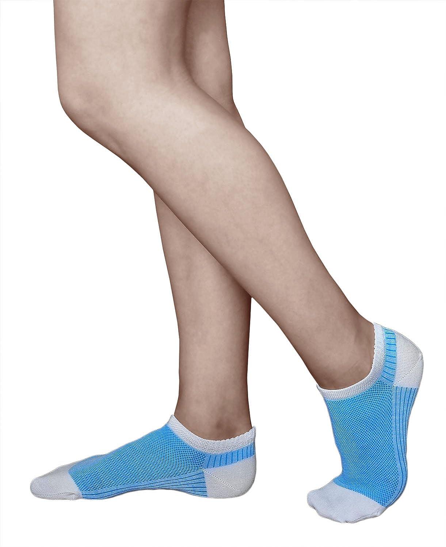 bab0346ff4b vitsocks Chaussettes Courtes Femme COTON MERCERISÉ Socquettes d Été (Lot de  3  Rouge Bleu Gris) Très Respirantes