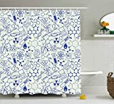 kids bathroom ideas  Children Shower Curtain, Science Chemistry Geometry Math Nerd Geek and Genius Themed Design Artwork, Fabric Bathroom Decor Set with Hooks, 75 Inches Long, Blue and Ivory