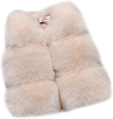 Kids Girls Winter Warm Gilet Outwear Short Slim Vest Faux Fur Coat Jacket Waistcoat
