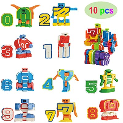 Flormoon 10 Pcs Number Robot Action Figure Toys for Kids Number Learning, Birthday Party, School Classroom Rewards, Carnival Prizes, Education Toy, Easter Basket Stuffers, Christmas Stocking Stuffers: Toys & Games