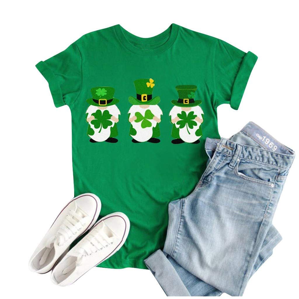 Kiminana Unisex Tops St Patricks Day Cartoon Print T-Shirt Summer Casual Round Collar Short Sleeve Tee Blouse