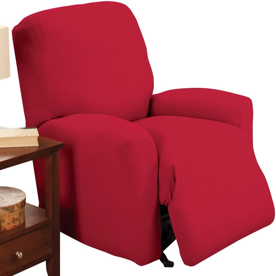 Collections Etc Jersey Stretch Slipcover Furniture Protector, Red, Recliner