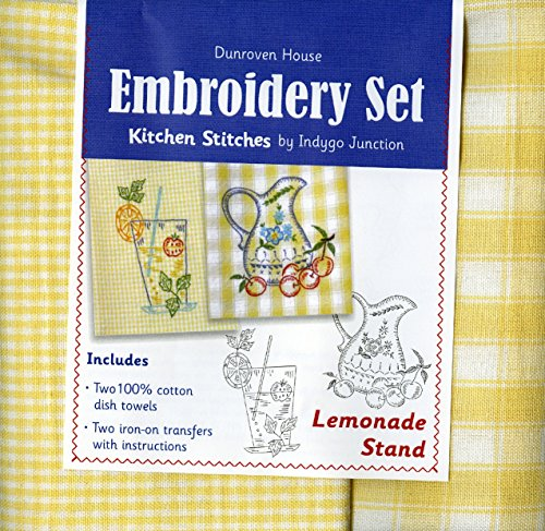 Dunroven House 200-112 Lemonade Stand Kitchen Stitches Embroidery Set, Yellow and White Check