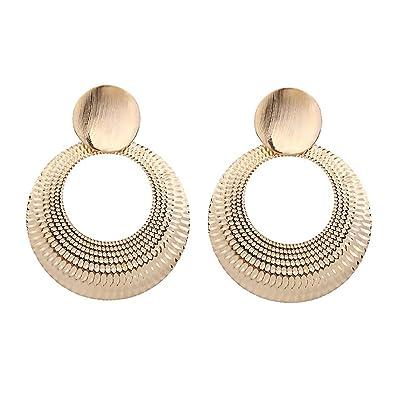 8b1425fc80b8d Homeofying Personalized Fashion Women Big Earrings Large Round Circle  Pendant Dangle Drop Dangling Hoop Earrings Statement Jewelry