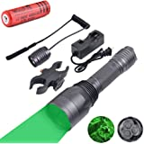 WINDFIRE S10 300 Yards 650 Lumen 3pcs Green LED Hunting Tactical Flashlight Long Range Hog Predator Varmint Green Hunting Gear Kit Scope Mount, Pressure Switch, Rechargeable Battery Charger