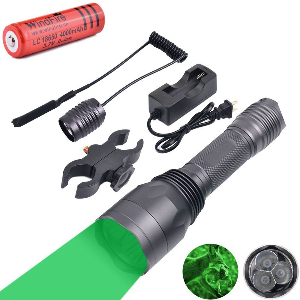WindFire S10 300 Yards 650 Lumen 3pcs Green LED Hunting Tactical Flashlight Long Range Hog Predator Varmint Green Hunting Gear Kit with Scope Mount, Pressure Switch, Rechargeable Battery and Charger