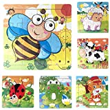 Gbell Cute Wooden Animals & Vehicles Jigsaw Puzzle Set,14.8×14.8×0.5CM Colorful Jigsaw Board...