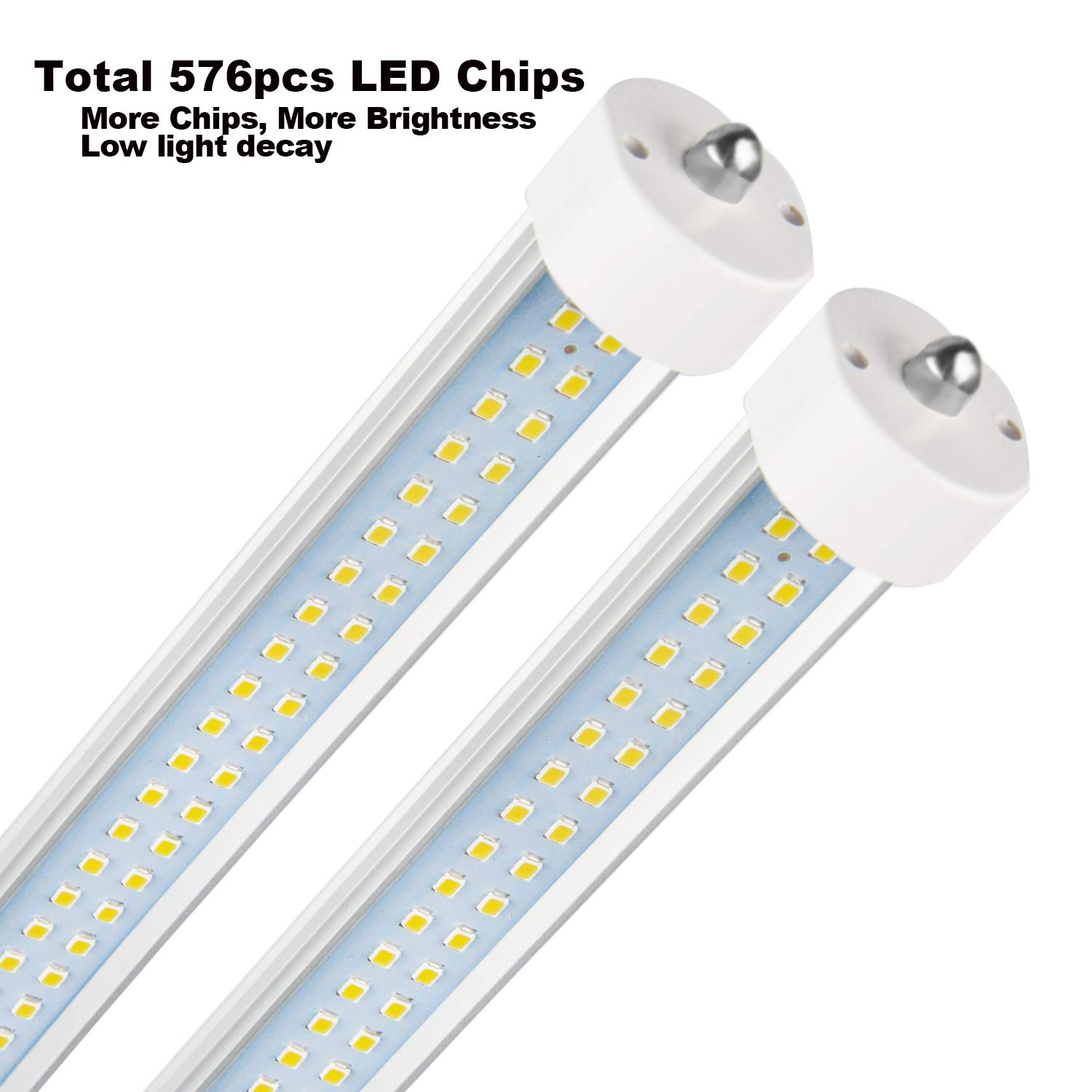25-Pack, LED tubo de luz, 8 ft 90 W forma de V y doble cara integrado bombilla lámpara, funciona sin T8 balasto, Plug and Play, claro/leche, lente, ...