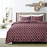 HOLY HOME Duvet Cover Set King Size 104''x90'' Simple Geometric Design 100% Microfiber Hypoallergenic All Seasons Bedclothes 3 Pieces Coffee