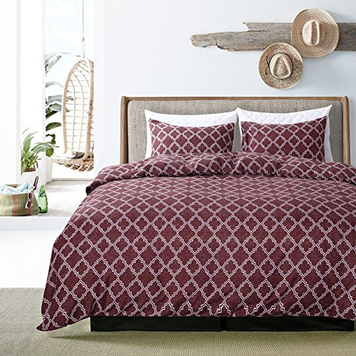 HOLY HOME Duvet Cover Set King Size 104''x90'' Simple Geometric Design 100% Microfiber Hypoallergenic All Seasons Bedclothes 3 Pieces Coffee by HOLY HOME