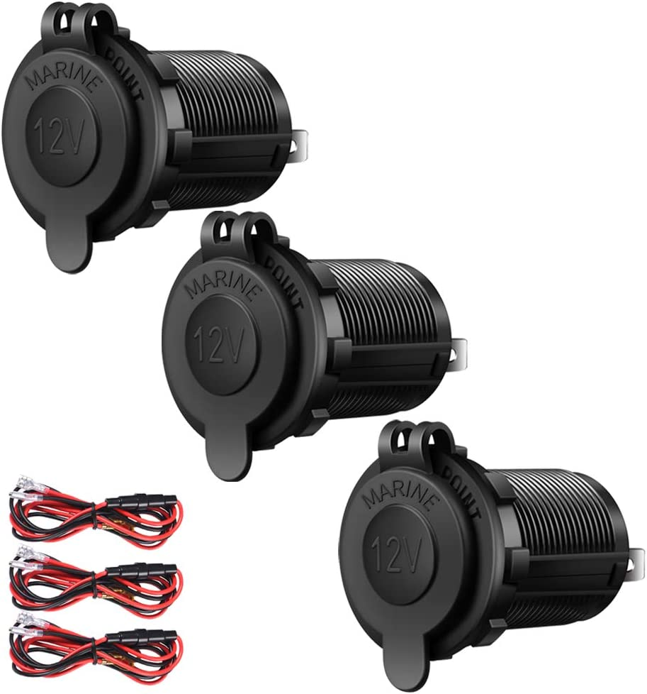 3 Pack Cigarette Lighter Socket Car Marine Motorcycle ATV RV Lighter Socket Power Outlet Socket Receptacle 12V Waterproof Plug by ZHSMS