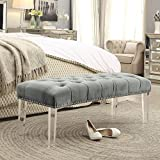 Inspired Home Victoria Grey Velvet Upholstered Bench - Modern Acrylic Legs | Tufted | Nailhead | Modern and Contemporary