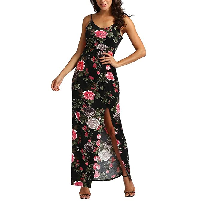 Oyeden Verano De Las Mujeres De ImpresióN De Color Rosa Longuette con Cuello En V Sling Vestido Largo Boho Vestidos De Fiesta: Amazon.es: Ropa y accesorios
