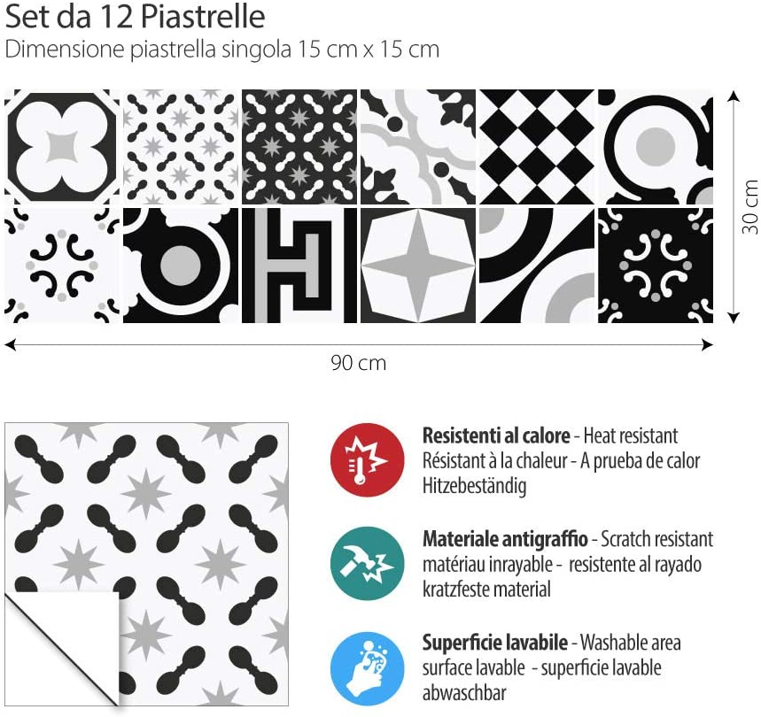 12 Pieces 15x15 cm Made in Italy PS00159 Adhesivo Decorativo para Azulejos para ba/ño y Cocina Stickers Azulejos Stickers Design