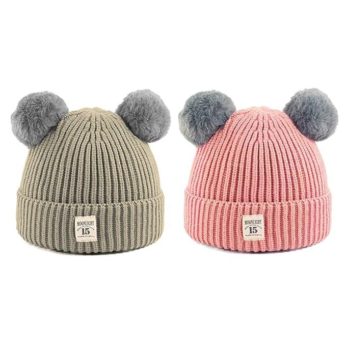 e44a9e29a34 Amazon.com  CMK TRENDY KIDS 2PCS Unisex Baby Winter Warm Knit Skull Cap  with Fur Ball Crochet Pompom Beanie Hats for Toddler Infant Girls and Boys  6-36 ...