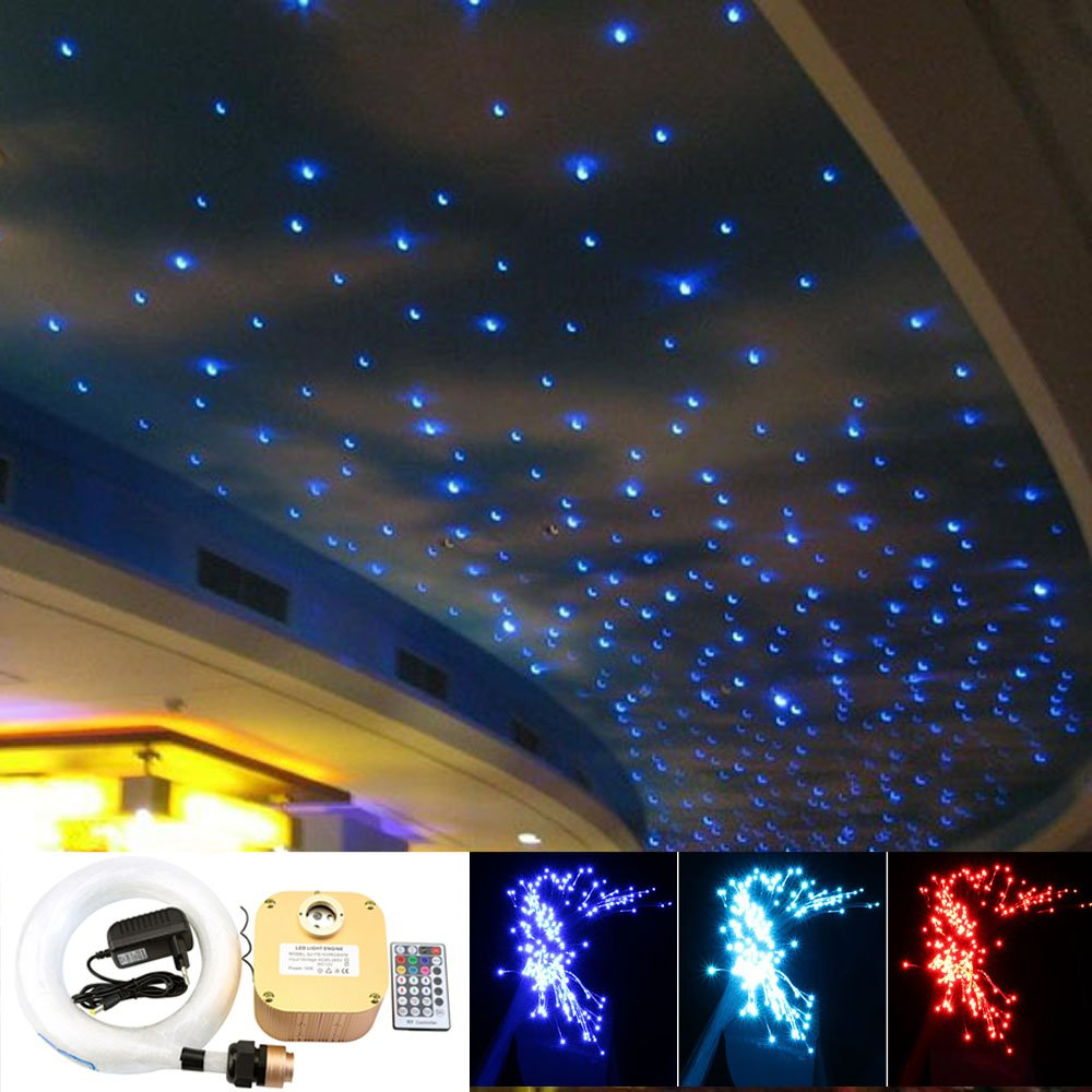 16W Twinkle Fiber Optic Star Ceiling Light Kit, LED RGBW Engine Driver with RF 28 Key Remote Control, Mixed 0.03in/0.75mm 0.04in/1mm 0.06in/1.5mm 13.1ft/4m 335pcs + Crystal