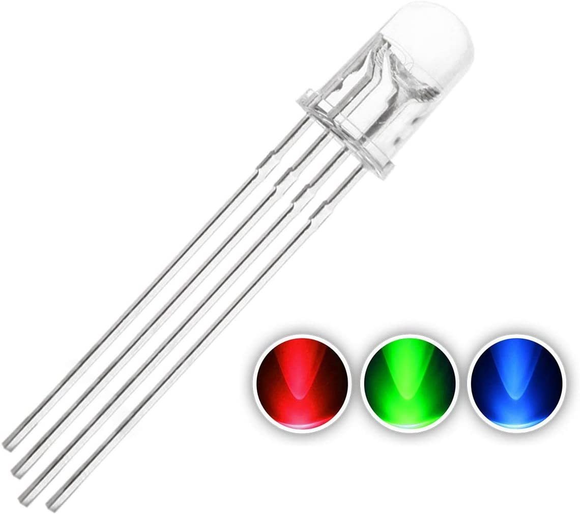 POL 20 Piece LED 5mm 3 chip RGB//Red-Green-Blue//controllable//common cathode