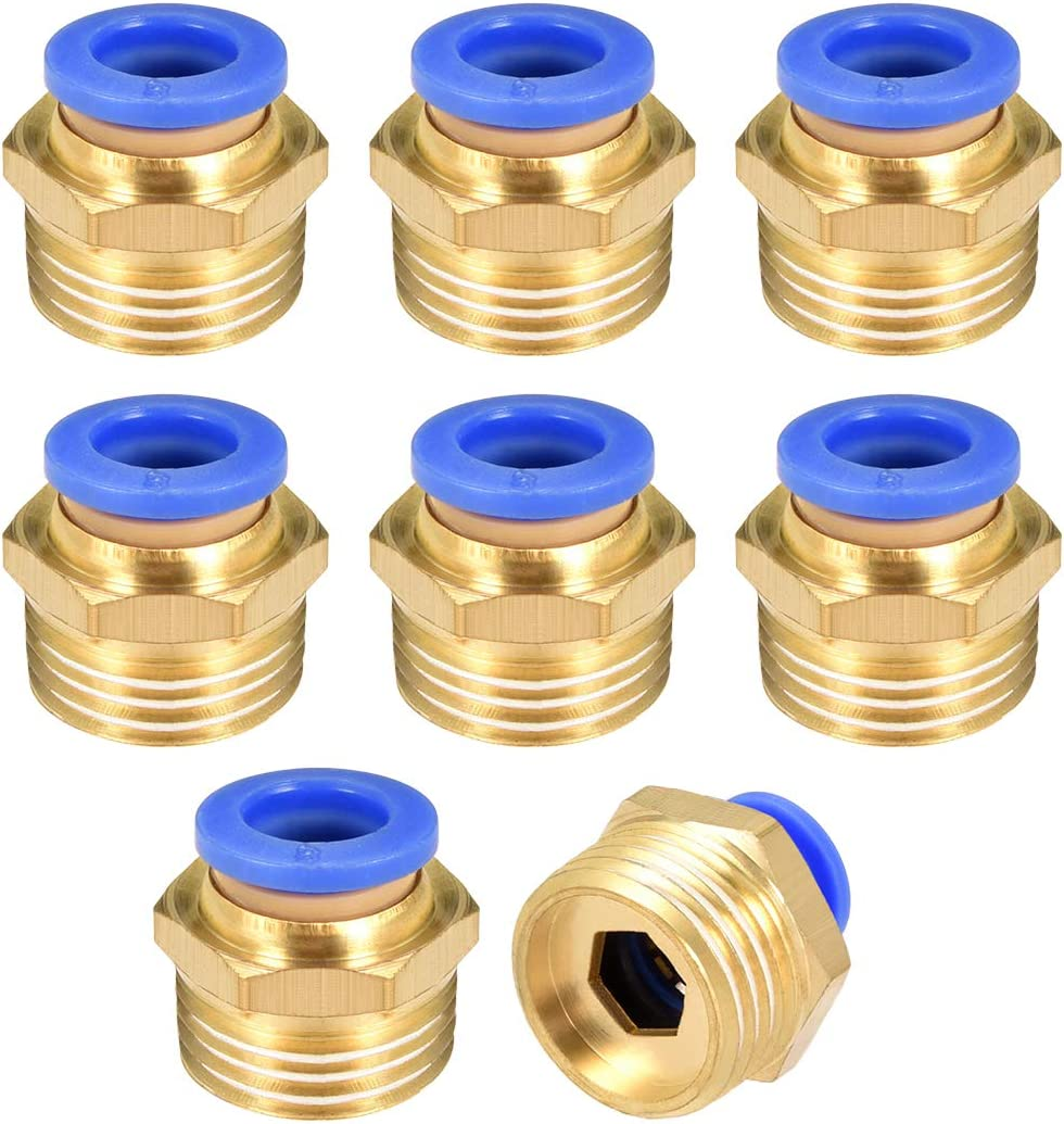 uxcell Straight Pneumatic Push to Quick Connect Fittings G 1//4 Male x 8mm Tube OD 8pcs