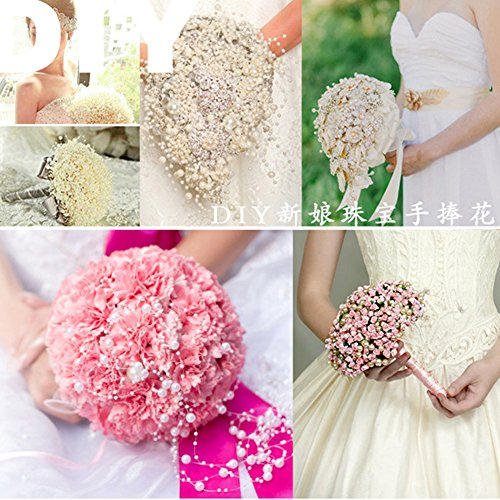 5 Meters Fishing Line Artificial Pearls Beads Chain Rose Flowers DIY Wedding Party House Decoration Pack of 5