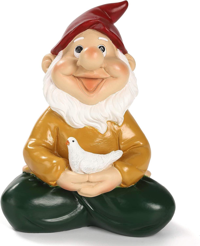 Hausure Funny Garden Figurines for Lawn Patio Yard Decor Meditation Garden Gnome Outdoor Gnome Statue Decorations