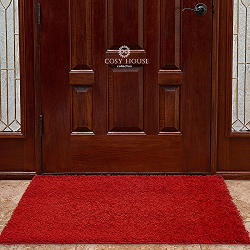 Cosy House Collection - Area Rugs - Resists Stains, Soil, Fading & Freying - Power Loomed in Turkey (Shag - Red, Door Mat (24