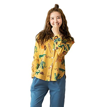 55403590b2 Image Unavailable. Image not available for. Color  Women  s Fashion Cotton  Pajamas Long - Sleeved Cardigan Home Clothing Set ...