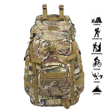 MOREJUN Mochila Militar, Mochila táctica Militar 70L Multifunción Resistente al Agua Ejército Molle Daypacks para Caminatas al Aire Libre Senderismo ...