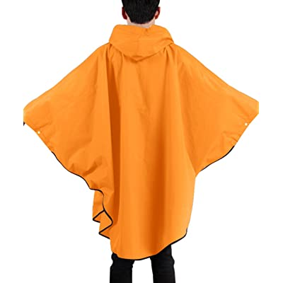 Poncho Raincoat Waterproof Color Block Drawstring Hooded Snaps Batwing Sleeves EVA Rain Poncho