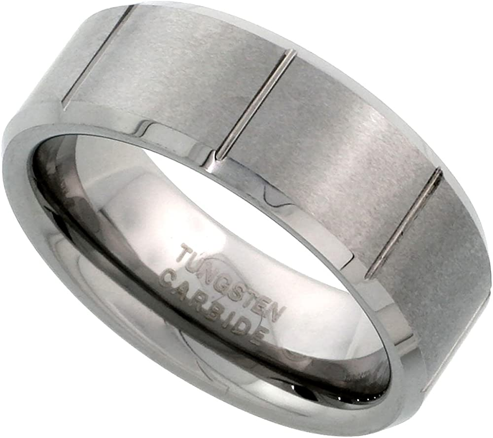 Tungsten Carbide 8 mm Flat Wedding Band Ring Satin Finished Vertical Grooves Beveled Edges, Sizes 7 to 14