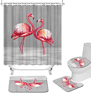 RyounoArt 4Pcs Flamingo Shower Curtain Sets Pink Flamingo Couple with Grey Background Bathroom Decor Romantic Love Curtain with Non-Slip Rug Toilet Lid Cover and Bath Mat