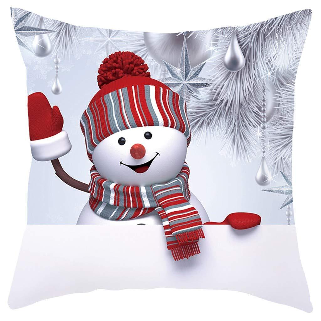 Car Home Cafe Indexp Christmas Sofa Pillow Case 3D Snowman Cushion Cover Decorative Covers 45cm x 45cm Xmas Ornaments Party Decor for Office
