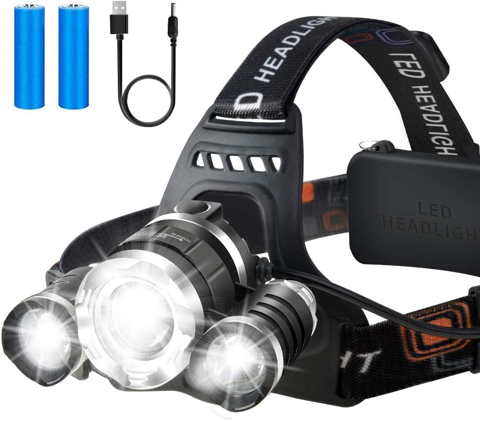Pro USB Rechargeable LED Headlamp Head Torch Flashlight Work Light Headlight UK.