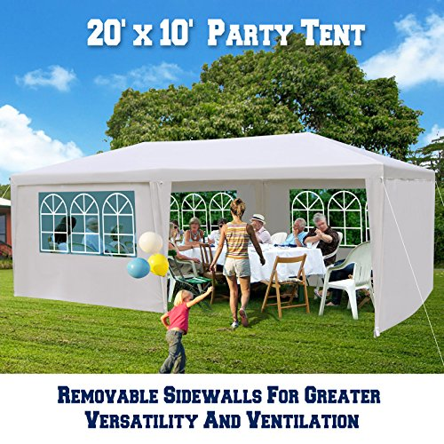 BenefitUSA 10'X20' Wedding Party Tent Outdoor Gazebo Pavilion Canopy Buffet Cater Event (With 6 (10x20 White Party Tent Gazebo)