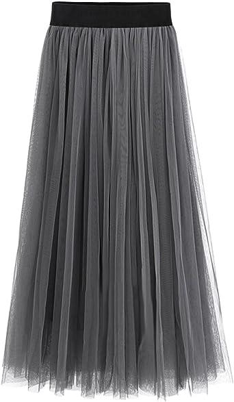 Falda larga de gasa , con cintura alta elástica de moda para las ...